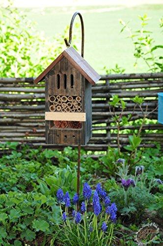 Black Insektenhotels, Kombi Metallstiel mit Metallstiel/Schäferstab 1,25 m Höhe robust, BD-MMS schwarz kleines Vogelhaus Meisen Nistkasten
