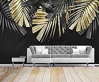 壁紙 3D 熱帯植物の黄金の葉 不織布壁紙テレビ背景壁
