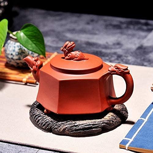 Tetera japonesa, Juego de té Hexágono Chino Unicornio Tetera de arcilla púrpura, Puerta de té Puerra radicional 320ml Conjunto de té de color arcilla hecha a mano Kettle Kung Fu Tetera Juego de té