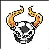 Fliesenaufkleber Fliesentattoos für Bad & Küche - Küchenfliesen für weiße einzelne Fließen empfohlen 18x18 cm - Sport Maskottchen Logos - Goldhorn Ball Fußballmaskottchen Logo