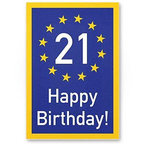 Bedankt! 21 jaar Happy Birthday - kunststof bord, cadeau 21e verjaardag, cadeau-idee verjaardagscadeau eenpersoons, verjaardagsdecoratie, partyaccessoires, verjaardagskaart