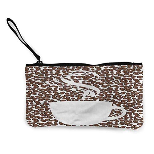 Kaffeekartenetui Key Bag Einfache Leinwand Reißverschluss Münzgeldbörse Gemahlene Kaffeebohnen