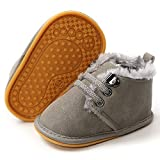 LAFEGEN Newborn Baby Booties Boys Girls Shoes Warm Winter Faux Fur Lining Non-Slip Lace Up Infant Toddler First Walker Crib Boots, 6-12 Months Infant, 02 Grey