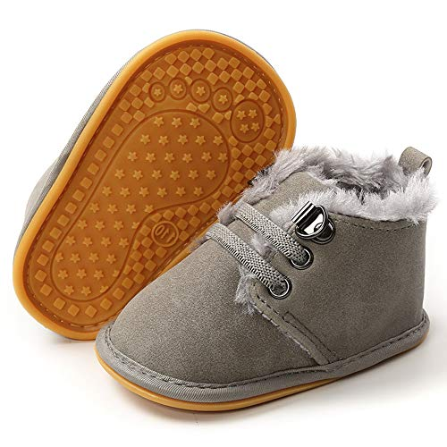 LAFEGEN Newborn Baby Booties Boys Girls Shoes Warm Winter Faux Fur Lining Non-Slip Lace Up Infant Toddler First Walker Crib Boots, 3-6 Months Infant, 02 Grey