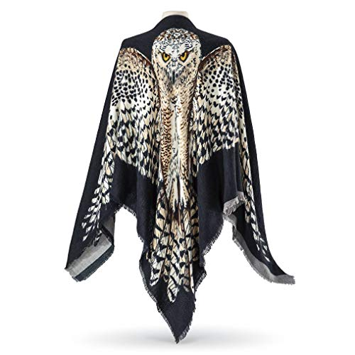 Beautiful Reversible Scarf/Shawl - Painted Owl Art with Wide Spread Wings; Spread your Wings for a Party or Christmas Celebrations