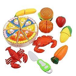 Hyselene 18 Stück Küchenspielzeug Kinder, Geschirr Schneiden Obst Gemüse Lebensmittel, Küche Spielzeug Rollenspiel Lernspielzeug Geschenk, Kinderküche Zubehör für Jungen Mädchen