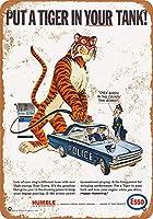 1965エッソ、パトカータンクにトラを入れるブリキ看板