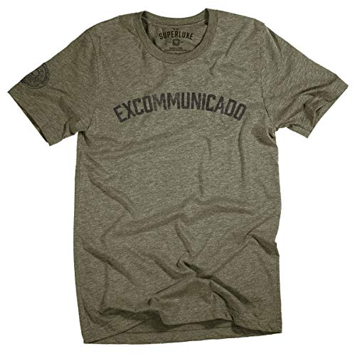 Superluxe Clothing Mens/Womens/Unisex Excommunicado Continental Blood Oath Coin Marker T Shirt, Heather Military Green, Large