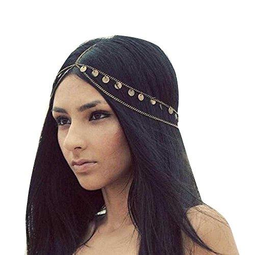 Missgrace Women Bohemian Gold Head Chain Headband Bridal Head Chain Wedding Headpiece Hair Jewelry Accessories for Bridal and Girl Hair Accessories