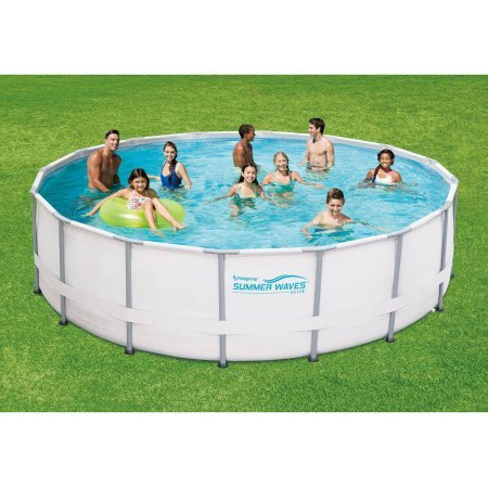 """Summer Waves Elite 16' x 48"""" Round Premium Metal Frame Above Ground Swimming Pool with Deluxe Accessory Set"""