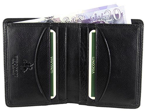 Mens Visconti Soft Leather Slim Compact Wallet For 8 Credit Cards & Bank Notes -Gift Boxed (Black)