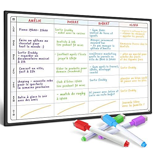 Tableau Planificateur de Repas et Agenda par SmartPanda - Grand Calendrier Magnétique, Idéal pour des Examens ou des Tâches Ménagères - Tableau pour Frigo - Hebdomadaire - en Français