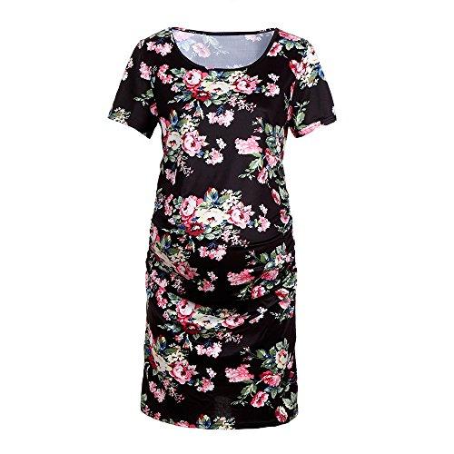 Gugavivid Frauen Schwangerschaft Blumen bedrucktes Kleid, Mutterschaft Kurzarm O-Ausschnitt Casual Sundress Kleidung(Black,S)