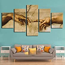 LIUZYU 5 Pieces Wall Art Painting On Canvas Decor Poster Prints Pictures Home Decorative Hd Creation of Adam Hand of Paintings Office Canvas Poster Wall Art -B Framed