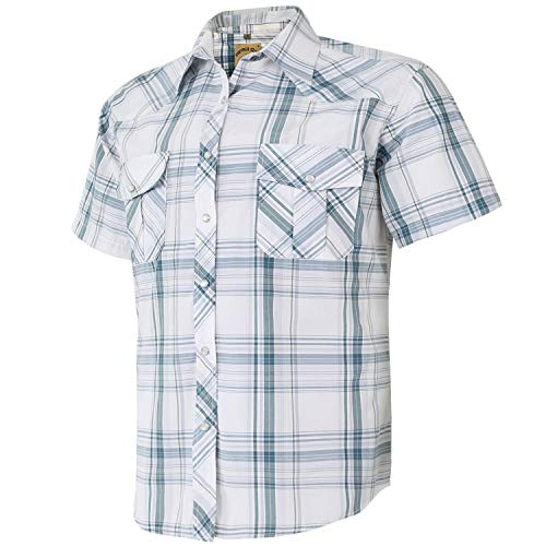 Coevals Club Men's Western Plaid Pearl Snap Buttons Two Pockets Casual Short Sleeve Shirts (XL, 28# White Plaid)