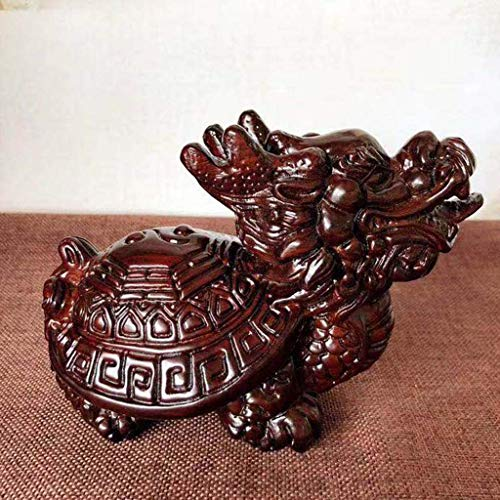 Estatua de la tortuga dragón Tai Chi de ébano de feng shui chino, la tortuga dragón se sienta en la estatua para proteger la riqueza, la mejor casa de la ciudad de Zhaocai Adornos de decoración de re