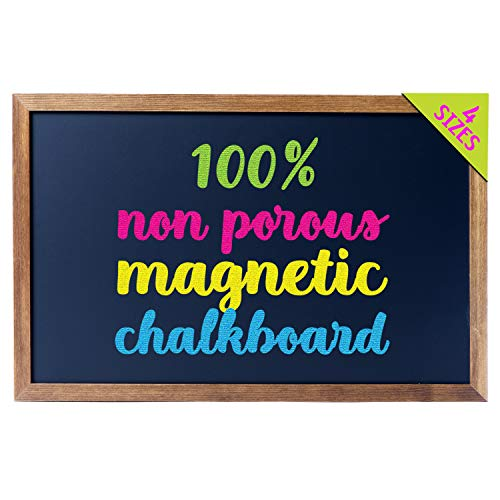 Cedar Markers 17'x11' Homeschool Chalkboard With Wood Frame. 100% Non-Porous Erasable Blackboard and Whiteboard For Liquid Chalk Markers. Magnet Board Decorative Bulletin Board for Every Event (17x11)