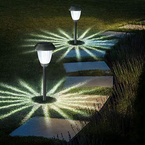 Luce solare per esterno,OxyLED 8 pezzi Lampada per giardino Patio Terrazza Percorso Prato, Lampada per regalo IP44 Acciaio inossidabile impermeabile per esterno