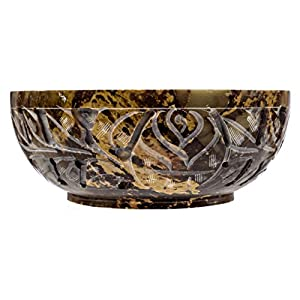 Alternative Imagination Soapstone Scrying and Smudge Bowl with Carved Floral Design