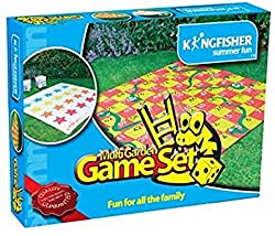 Garden game set incorporates two games, 'snakes and ladders' and 'tangled' Includes a 150 cm x 150 cm reversible playing mat, 4 pegs to secure the mat, giant inflatable dice (2 dice for tangled and 1 numbered dice for snakes and ladders) Suitable for...