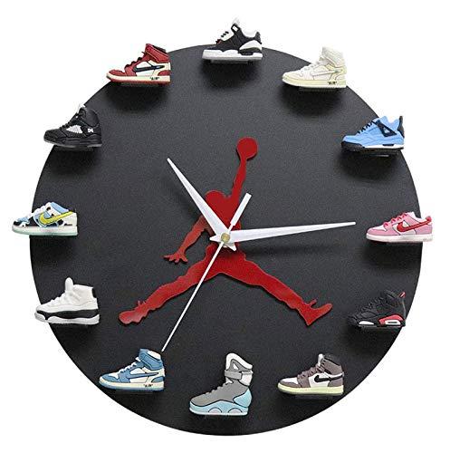 WANGT Reloj De Pared 3D Mini Zapatillas, DecoracióN Reloj Regalo Estilo Sneakerhead para Dormitorio Sala De Estar Restaurante