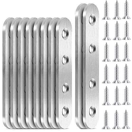 beihuazi® Flachverbinder Edelstahl Lochplatte Holzverbinder 10Stk Metallverbinder mit Schrauben für Hartholzkonstruktion und Holzgeländern