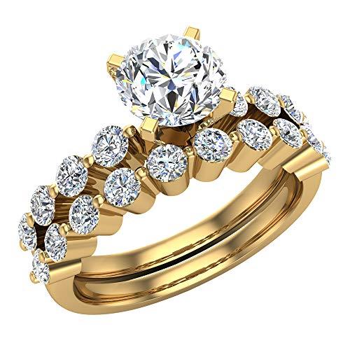 Glitz Design Mujer Niños Hombre Unisex oro 14 quilates (585) oro amarillo redonda Diamond