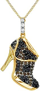 Black, Champagne White Natural Diamond High Heel Pendant Necklace 925 Sterling Silver (1/2 Ct)