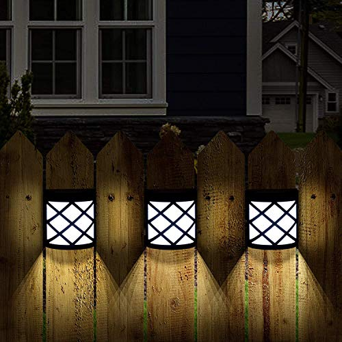 GIGALUMI Pack of 4 Solar Fence Lights, 6 LEDs Per Light, Waterproof Solar Wall Lights for Outdoor Deck, Patio, Stair, Yard, Path and Driveway. (Cold White)