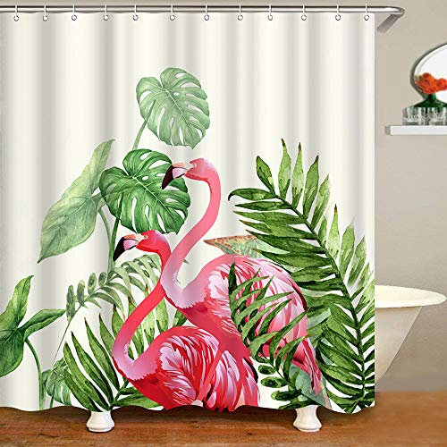 """VividHome Flamingo Fabric Shower Curtain Tropical Plant Pattern Garden Theme Digital Printing Waterproof Polyester Shower Curtain with 12PCS Hook, 72"""" x 72"""""""