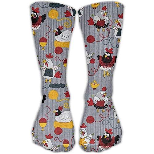 Rockboy Strickende Hühner der Männer/der Frauen Strickende Hühner-Grau-beiläufige elastische Socken-Länge lang: 50CM