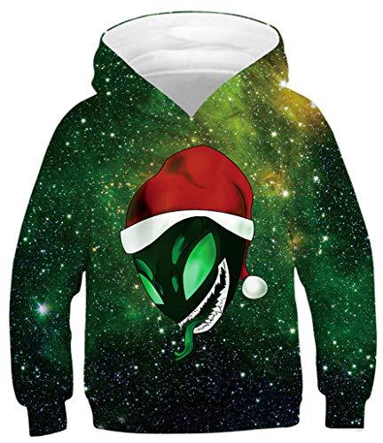 Ocean Plus Jungen Kapuzenpullover Digitaldruck Hoodie Langarmshirt Pullover Sweatshirts mit Kapuze (M (Körpergröße: 135-140cm), Weihnachten Alien Schlange)