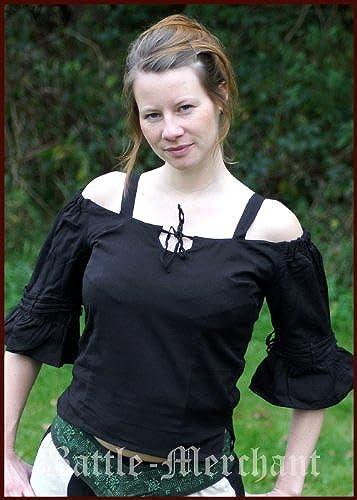 Médiévale Chemisier avec bretelles Femme LARP Costume voiturenaval Noir Taille S à 3X L
