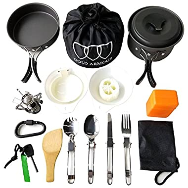 Gold Armour 17Pcs Camping Cookware Mess Kit Backpacking Gear & Hiking Outdoors Bug Out Bag Cooking Equipment Cookset | Lightweight, Compact, Durable Pot Pan Bowls (Black, 17pcs)
