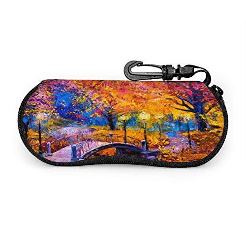 Estuche para gafas de sol, diseño de puente de bosque caducifolio, resistente a los arañazos, portátil, con soporte para gafas de sol de viaje, ligera, con clip de gancho, unisex