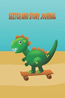 Cute T Rex Dinosaur Skateboarding by the Beach Sketch and Story Journal: A popular animal and skateboarding themed Sketch and Story Journal that kids ... for creating a story - educational and fun