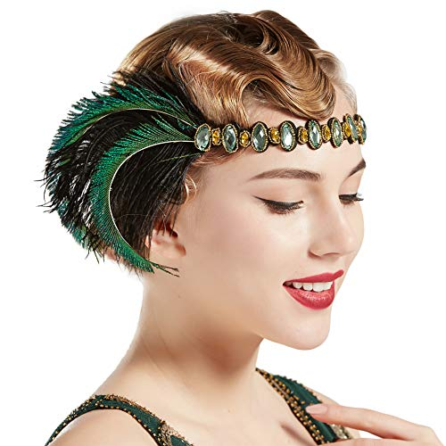 BABEYODN 1920s Flapper Peacock Headband 20s Rhinestone Elastic Headpiece Great Gatsby Hair Accessories