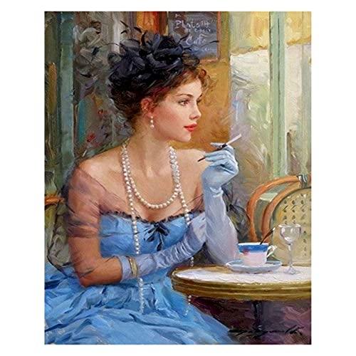 Pintura de Bricolaje por números para Adultos Principiante -Paint por números para niños de 8 a 12 años - Regalos del día de los pañales -Blue Dress Pearl Necklace Girl (Size : 60x75cm)