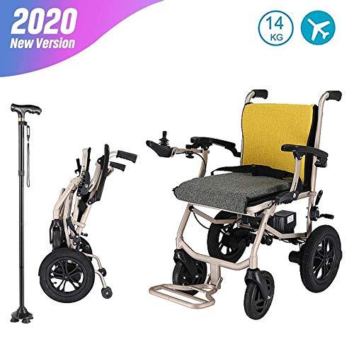 Elektrorollstuhl,Smart Elektromagnetische Bremse,360 ° Joystick,Herausnehmbare Dual-Lithium-Batterie,Leichter Faltbare Elektro Mobilitätshilfe Elektrischer Rollstuhl für ältere(Krücken schicken)