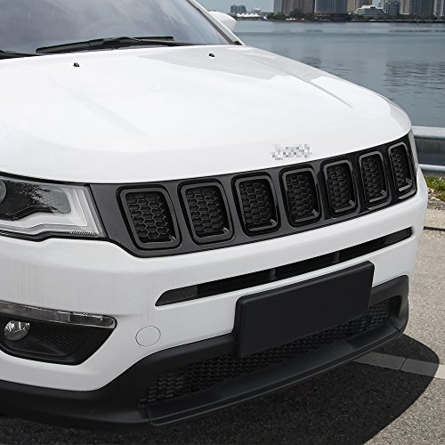 Grill Inserts Grille Cover Frame Trims Kit for Jeep Compass 2017 2018 2019 2020 (Black)