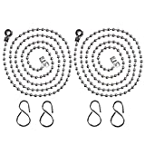 Willbond 2 Piezas Cadena de Bola de Fregadero Lavabo Cadena de Tapón de Bañera Reemplazo de Acero Inoxidable con Ganchos, 23.6 Pulgadas