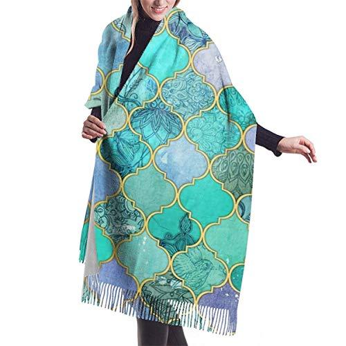 Damen Wickeldecke Schal, Lesmus Cool Jade & Icy Mint Dekorative Marokkanische Fliesen Muster 3D-Druck Mode Kaschmir Baumwollschal One Size