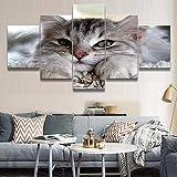 HD Impreso Lienzo En Pintura Al Óleo 5 Paneles Marco de Decoración de Pared Animal Precioso Gato Imágenes Para Salón Modular Cartel
