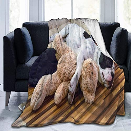 Flannel Throw Blanket Anti-Pilling Photo Puppy Sleeping with Teddy Bear Multipurpose Bed Blankets for Couch Sofa Chair