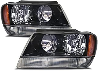 HEADLIGHTSDEPOT Compatible with Jeep Grand Cherokee Black Headlights w/Clear Signal Light & Xenon Bulbs