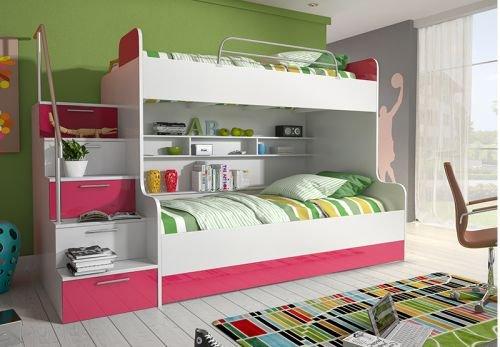 Litera Roterdam, 90x 200, cama alta con mucho espacio, cama alta para niños, litera