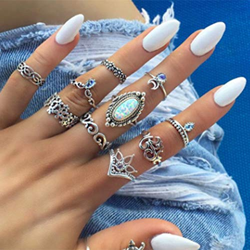 BERYUAN White Stone Silver Rings Set for Women Crystal Joint Knuckle Nail Ring Set Bohemian Vintage Women