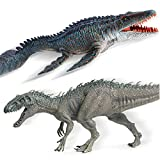 Gemini&Genius Indominus Rex and Strong Mosasaur Jurassic World Park Dinosaurs Figurine Toy for Kids from 3-12 Years Old Boys and Girls Gift.