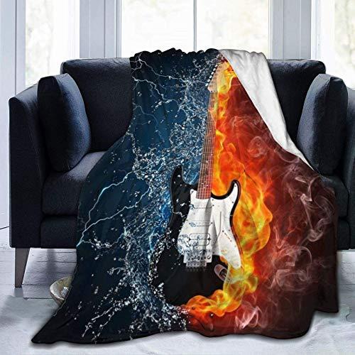 Manta de felpa suave y cómoda de franela de 152,4 x 127 cm para guitarra eléctrica en fuego y agua