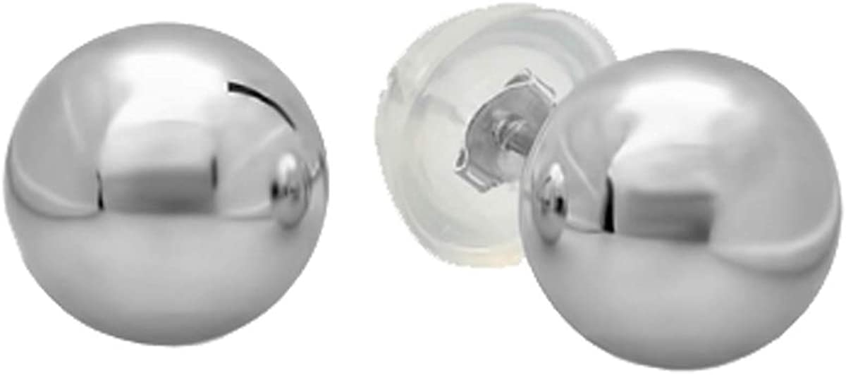 Dazzlingrock Collection Small 3 MM 10K Ball Stud Earrings with Silicone covered Gold Pushbacks, White Gold